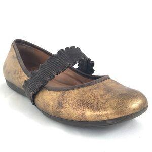 Nurture Copper Leather Ballet Flats Mary Jane Sz 8